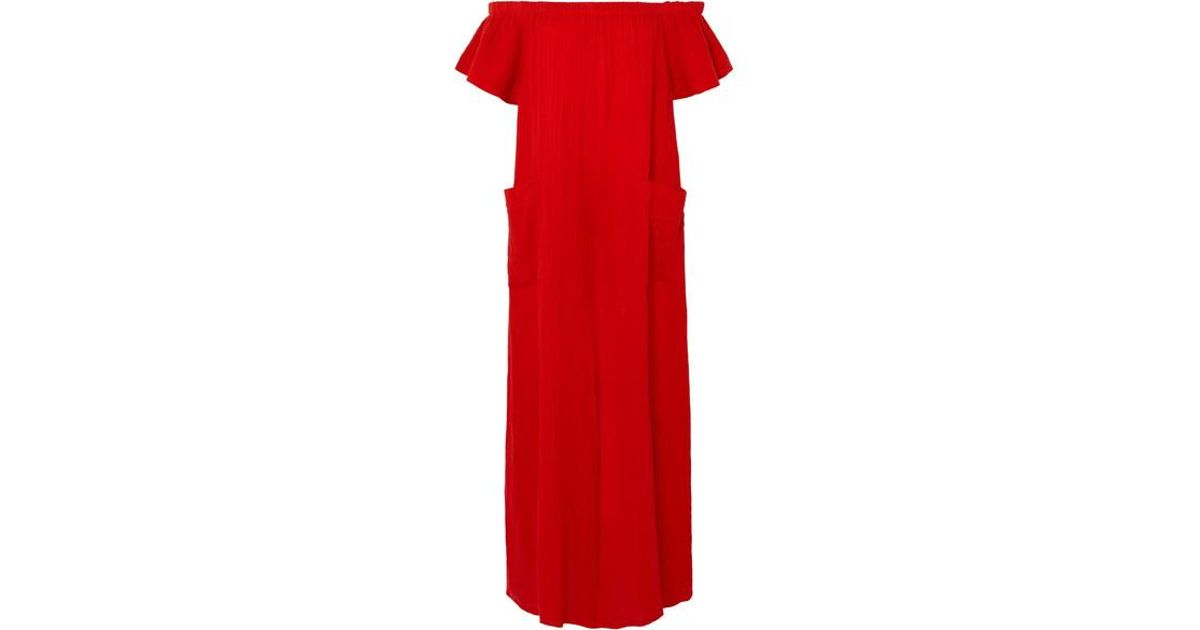 ee6101fbf3 Mara Hoffman Blanche Off-the-shoulder Organic Cotton Jumpsuit in Red - Lyst