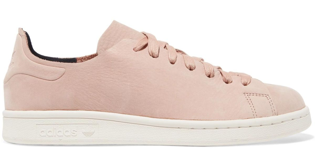 reputable site 9aed4 c415c Adidas Originals Pink Stan Smith Nuud Nubuck Sneakers