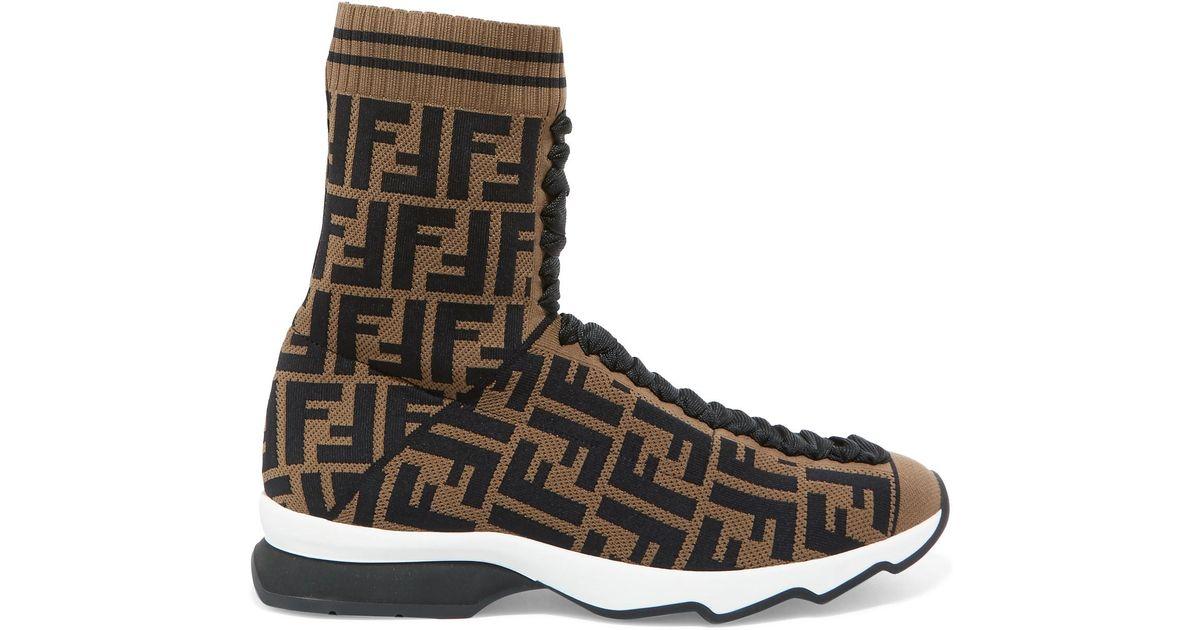 9c255fc07d Fendi Multicolor Logo-jacquard Stretch-knit And Mesh Sneakers