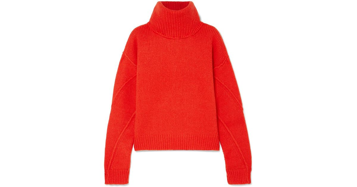 fa4bd912e5 Lyst - Tory Burch Eva Convertible Oversized Wool-blend Turtleneck Sweater  in Red