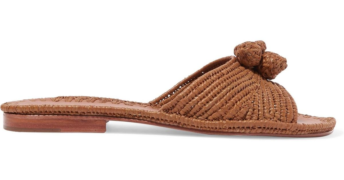 62beced92 carrie-forbes-tan-Salma-Pompom-embellished-Woven-Raffia-Slides.jpeg