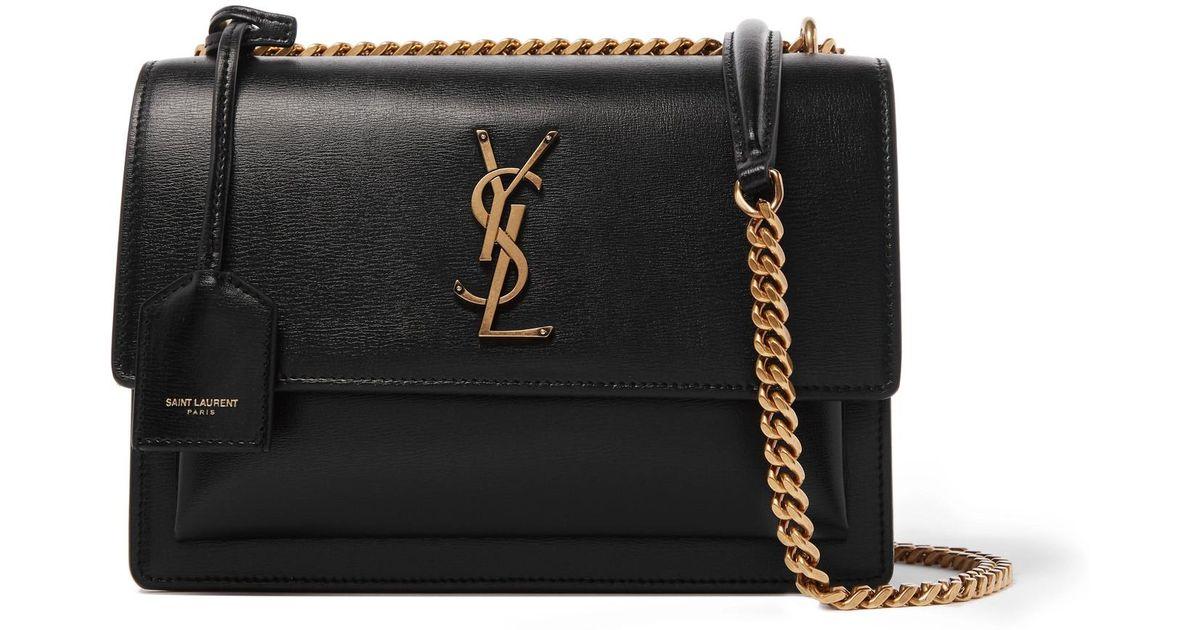 Lyst - Saint Laurent Sunset Medium Textured-leather Shoulder Bag in Black 8f88af8bf8cd4