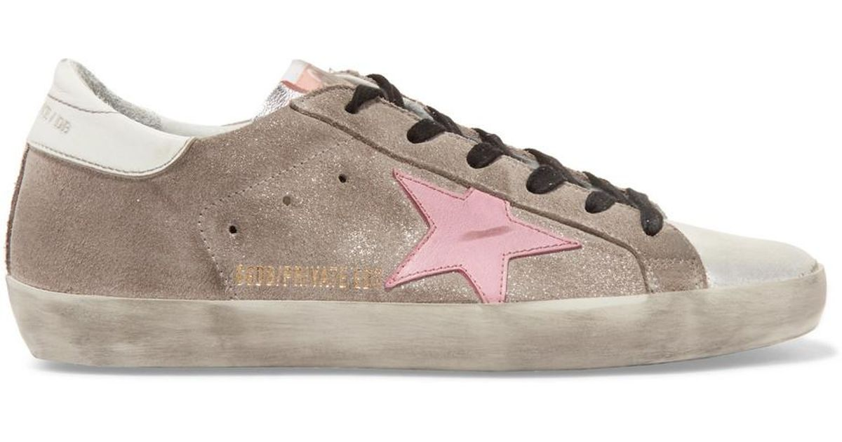 310716a9a869 Lyst - Golden Goose Deluxe Brand Superstar Distressed Glittered Suede And Leather  Sneakers in Metallic