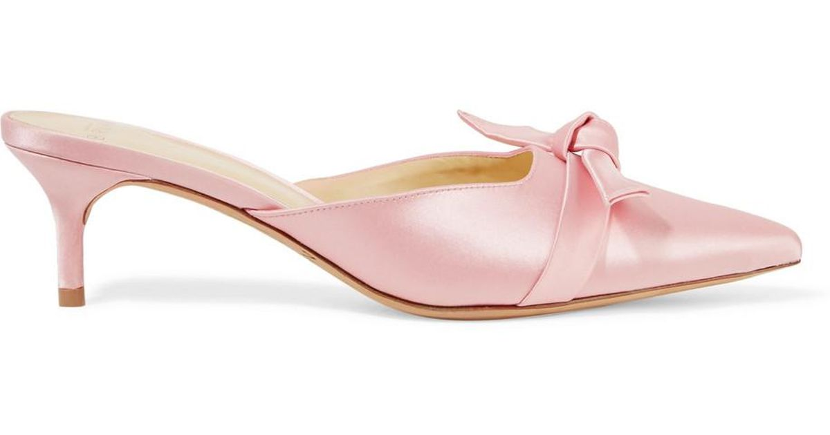 ALEXANDRE BIRMAN Daisy Bow-embellished Satin Mules Free Shipping Many Kinds Of Outlet Marketable n1JuPb