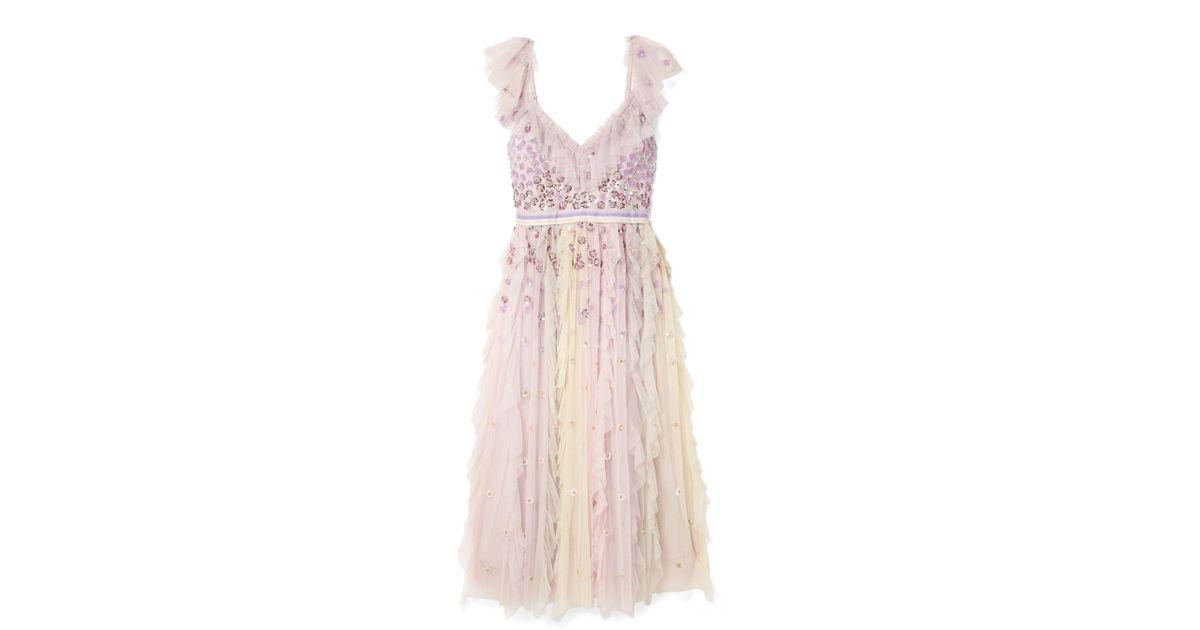 e45fb3a78671 Needle & Thread Rainbow Embellished Ruffled Tulle Midi Dress in Pink - Lyst
