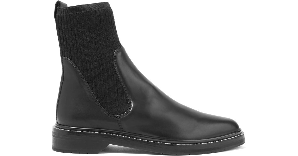 The Row Fara Cashmere Insert Leather Boots in Black - Lyst 705604680fc