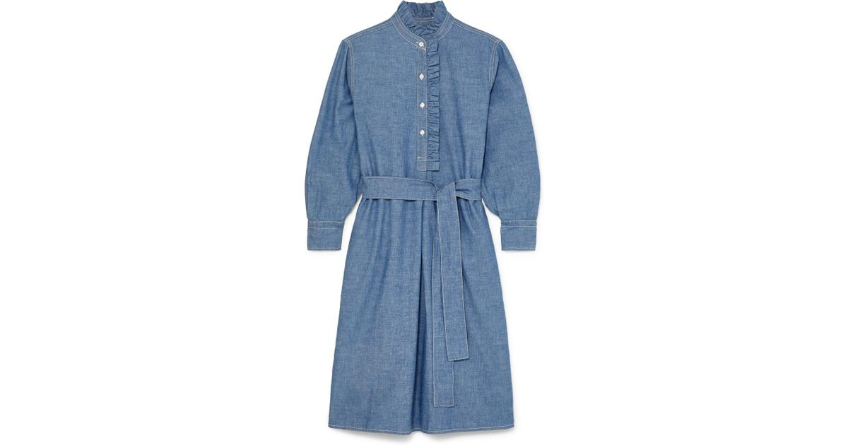dda6caef59 Lyst - Tory Burch Deneuve Belted Ruffle-trimmed Cotton-chambray Dress in  Blue