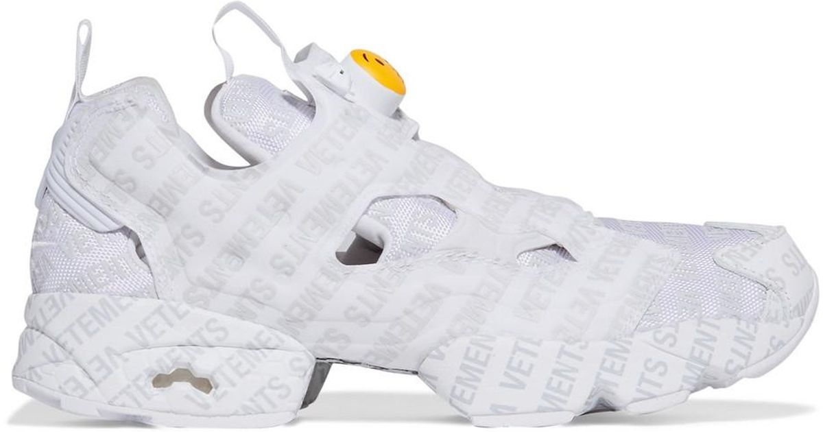 49a8549f89d Lyst - Vetements + Reebok Instapump Fury Emoji Printed Leather And Mesh  Sneakers in White