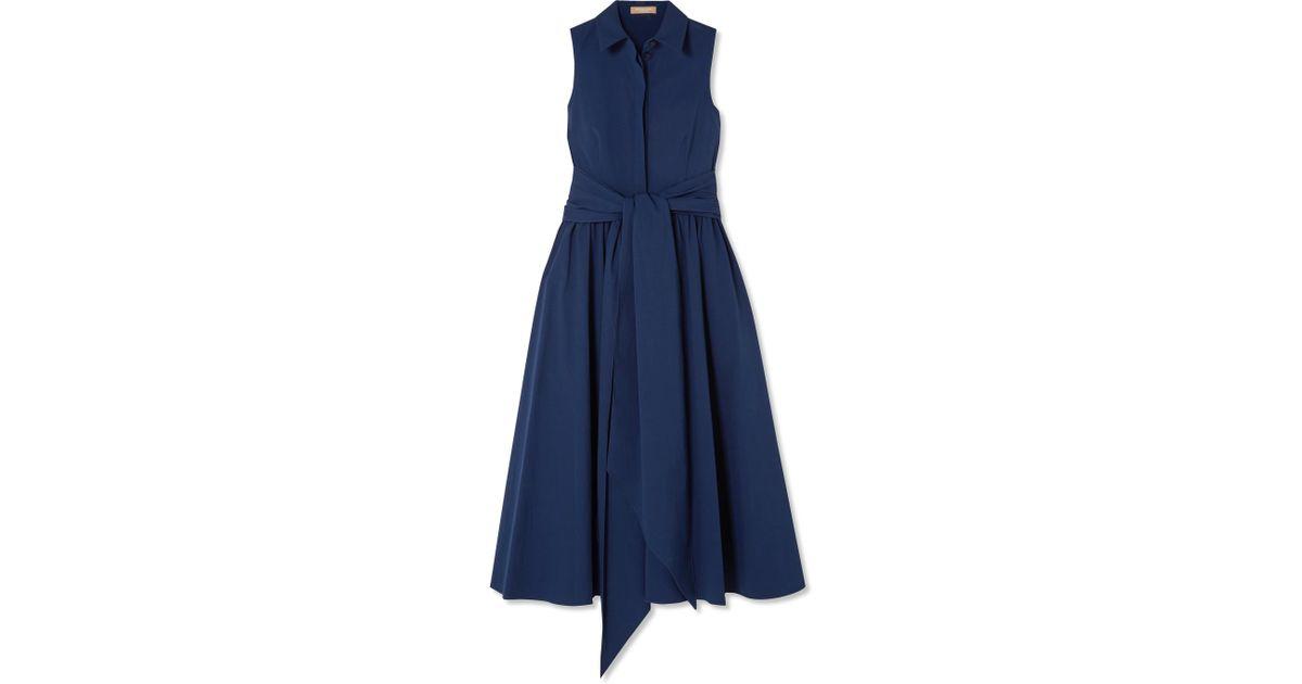 Belted Stretch-cotton Poplin Midi Dress - Blue Michael Kors O2pOJfL
