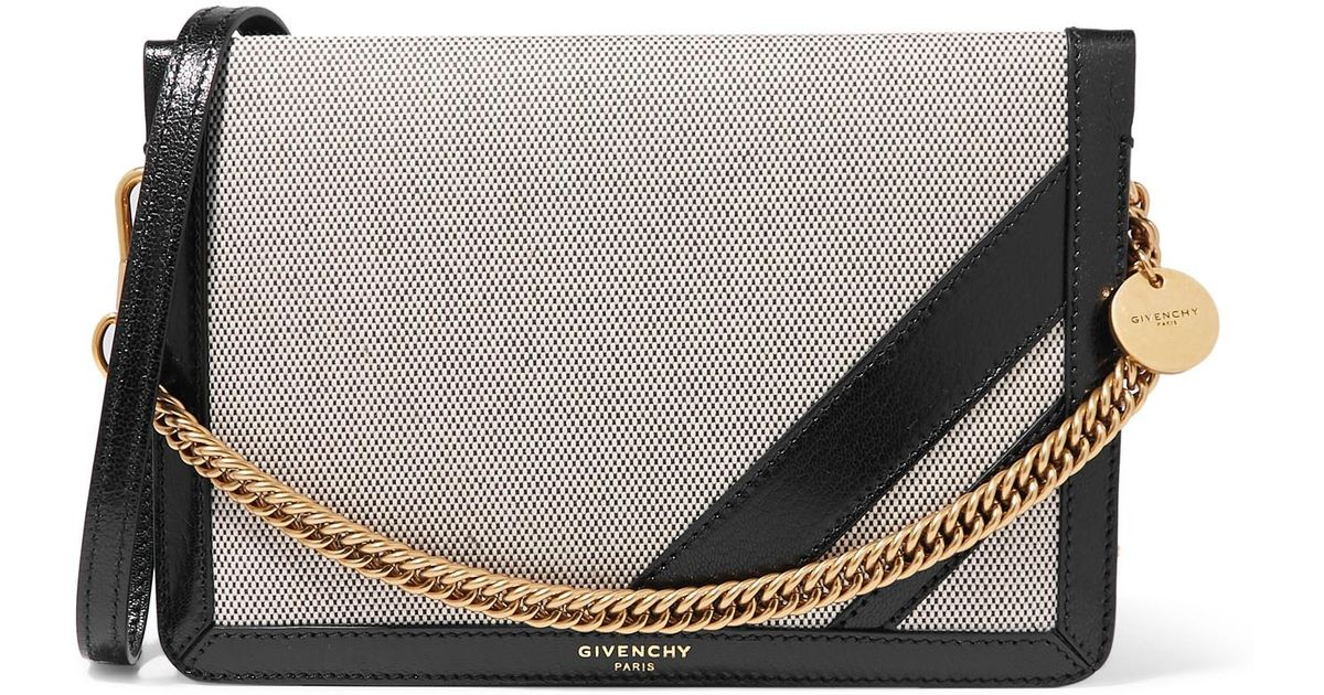 75add706c4c8 Givenchy Gv Cross Suede-trimmed Canvas And Textured-leather Shoulder Bag in  Black - Lyst