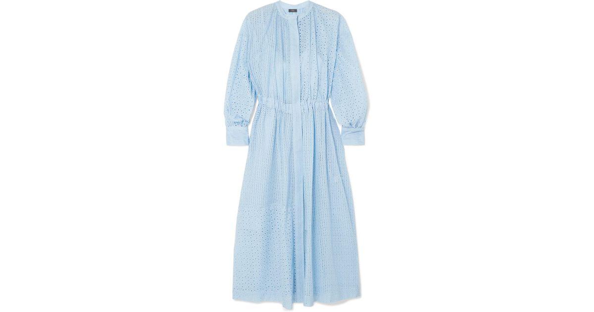 Joseph Lyst Broderie Blue Rafael Midi Cotton In Anglaise Blend Dress zqwzF5rZx