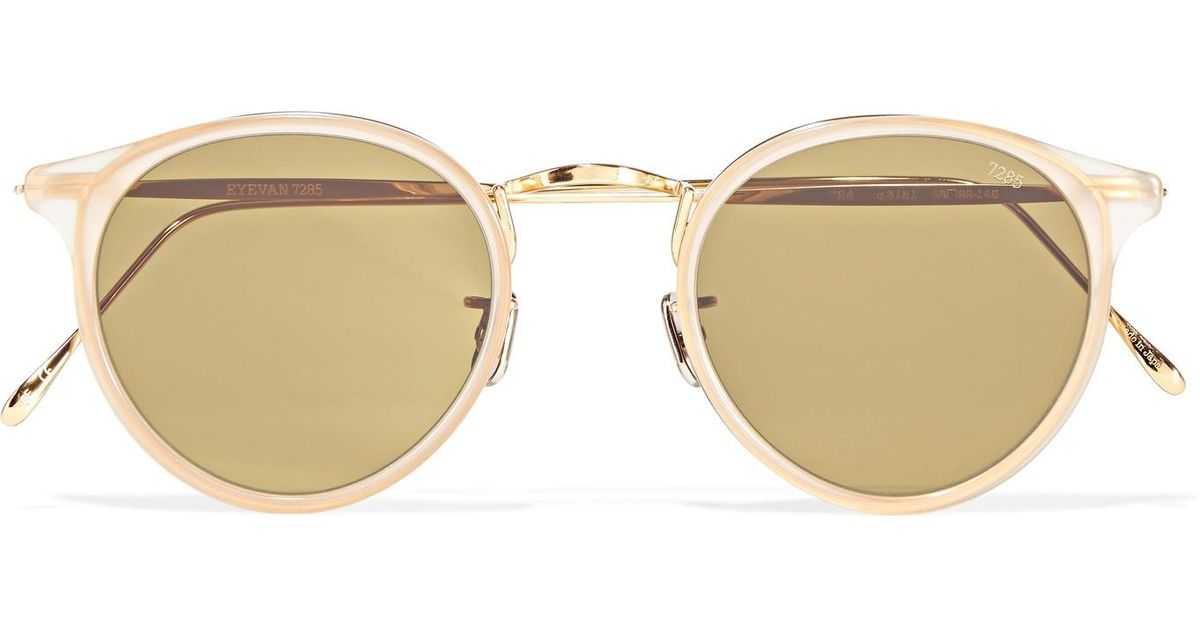 f9a8790f2e Lyst - Eyevan 7285 Round-frame Acetate And Gold-tone Sunglasses in Yellow