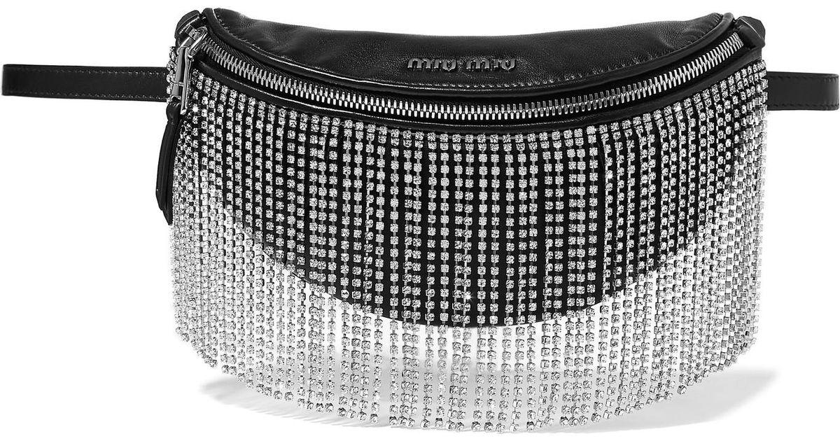 9475fa81738 Lyst - Miu Miu London Night Crystal-embellished Matelassé Leather Belt Bag  in Black