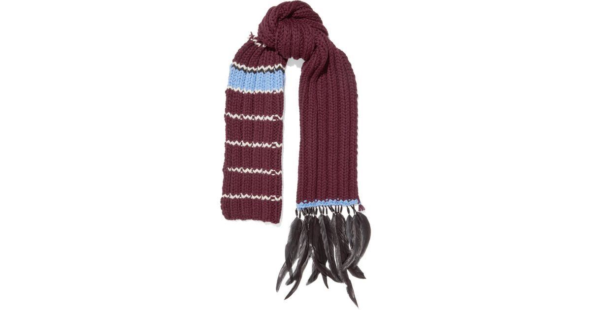 Feather And Bead-trimmed Striped Wool Scarf - Burgundy Prada zeEyKMO