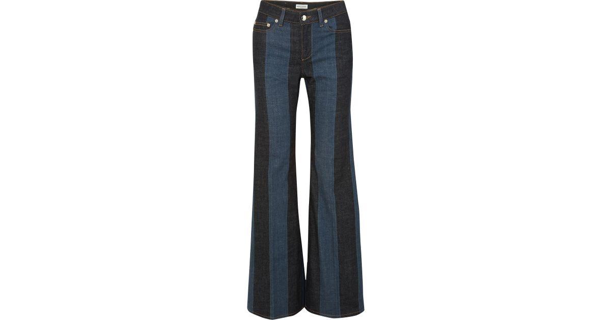 f5d873ce6d Sonia Rykiel Striped Mid-rise Flared Jeans Dark Denim in Blue - Save 55% -  Lyst