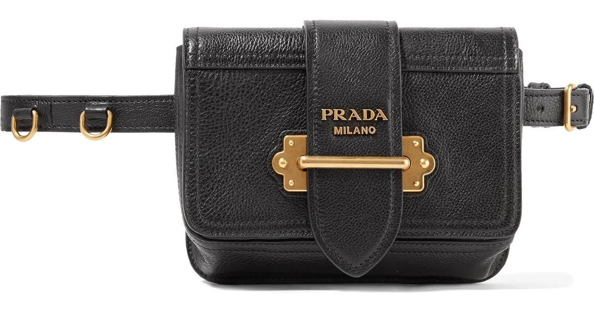 0a2199a610cb ... cheapest quick look. prada top handle tote bag lyst prada cahier  textured leather belt bag