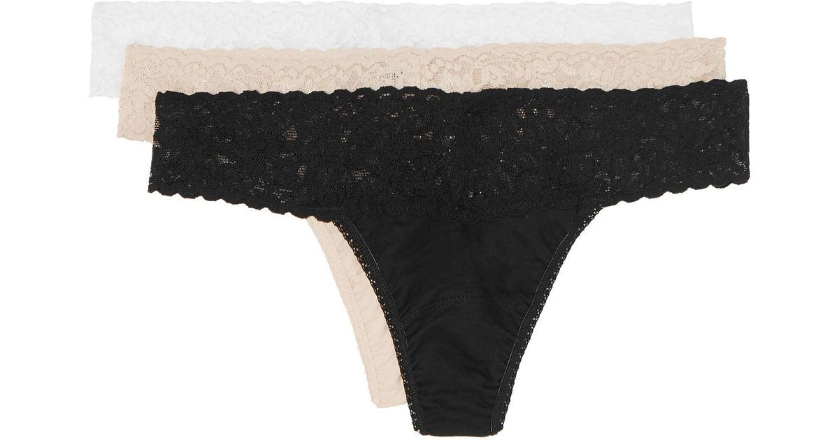 dc4a8985d662 Hanky Panky Set Of Three Lace-trimmed Stretch-organic Cotton Original-rise  Thongs in Black - Lyst