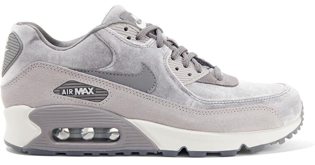 Air Max 90 suede trimmed velvet sneakers