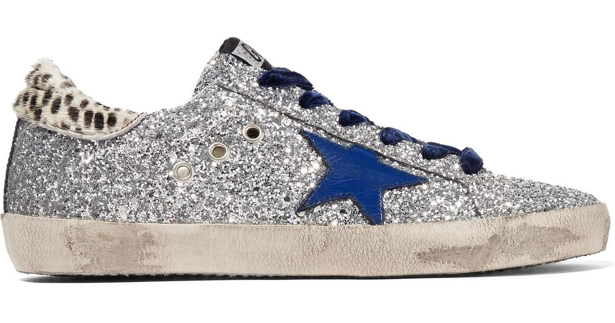 ff0eb01d3 Golden Goose Deluxe Brand Super Star Glittered Leather And Calf Hair  Sneakers in Metallic - Lyst