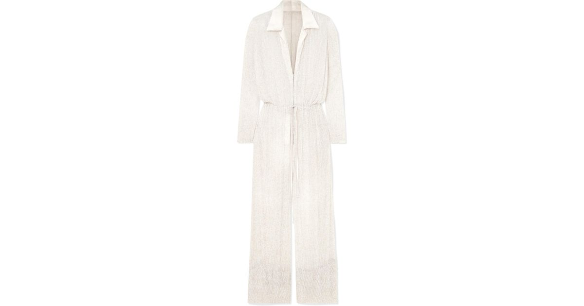 987087e6b44 Lyst - Naeem Khan Nevada Beaded Silk-chiffon Jumpsuit in White
