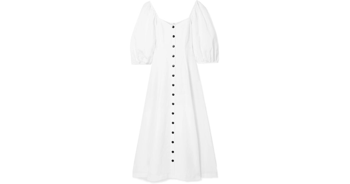 deaad15a8f Lyst - Mara Hoffman Mika Off-the-shoulder And Linen-blend Midi Dress in  White