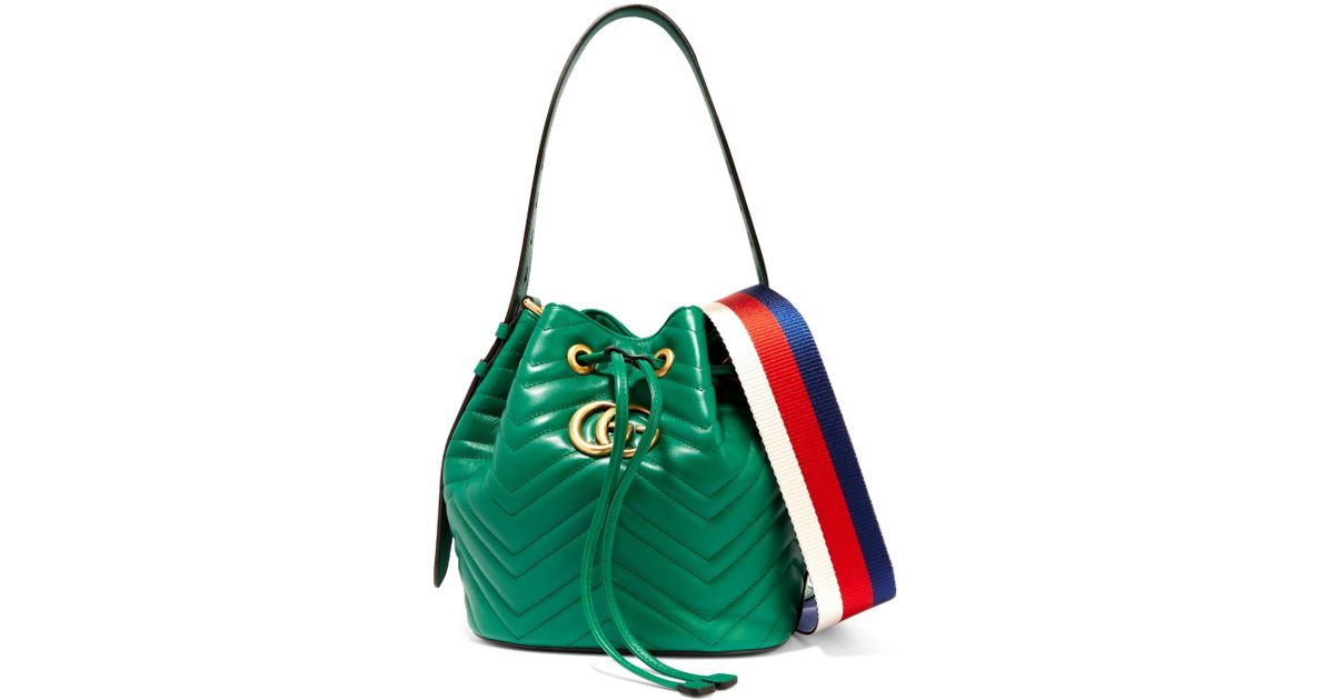 c894733d794 Lyst - Gucci Gg Marmont Quilted Leather Bucket Bag in Green