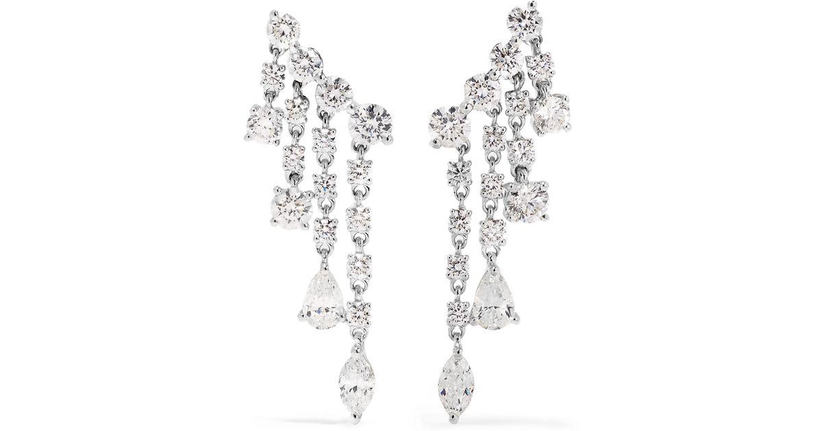Anita Ko Rain Drop 18-karat White Gold Diamond Earrings V5wNf