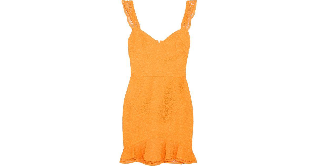 72981dfd30 Rebecca Vallance Baha Ruffled Lace Mini Dress in Orange - Lyst
