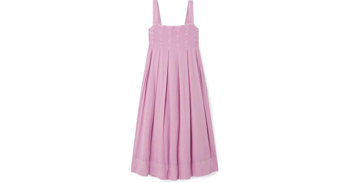 9d63af9e62 HATCH The Alice Pleated Shirred Cotton-voile Midi Dress in Purple - Lyst