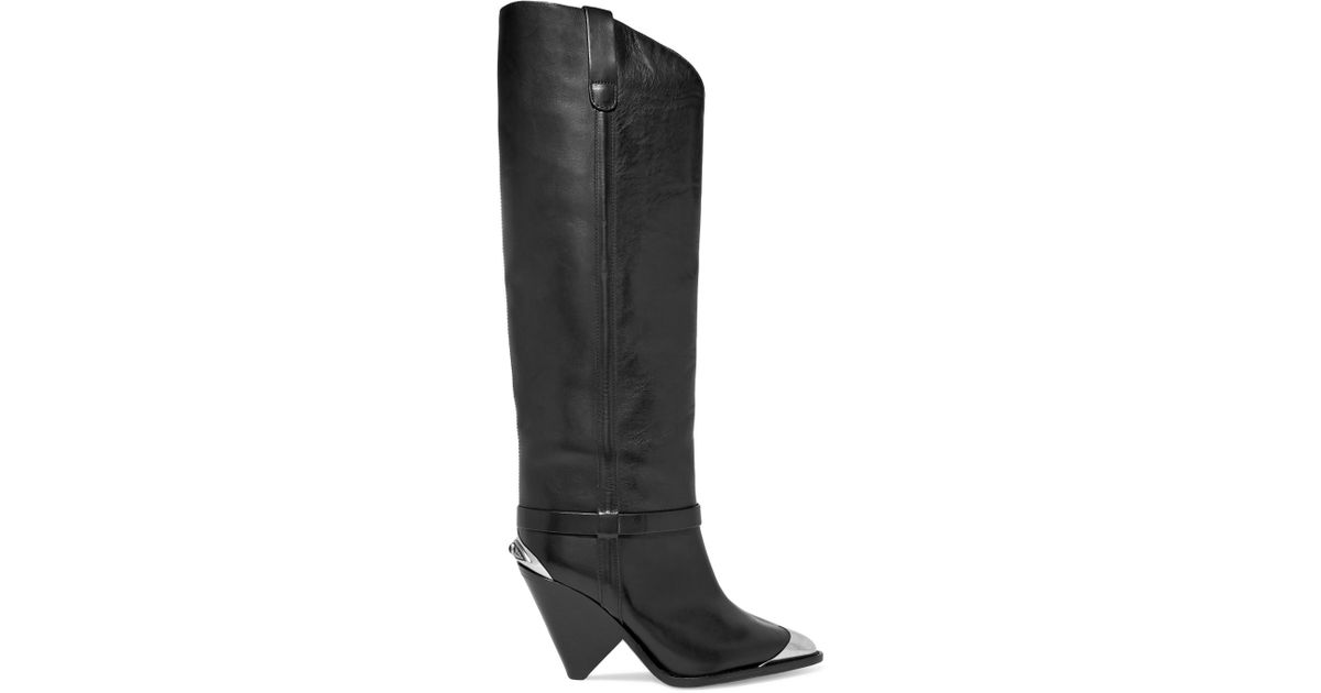 55d1b2a2346 Lyst - Isabel Marant Lenskee Metal-trimmed Leather Knee Boots in Black