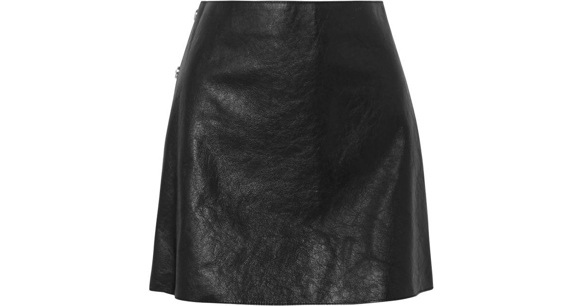 f8037f44eb Lyst - Sonia Rykiel Textured-leather Mini Skirt in Black