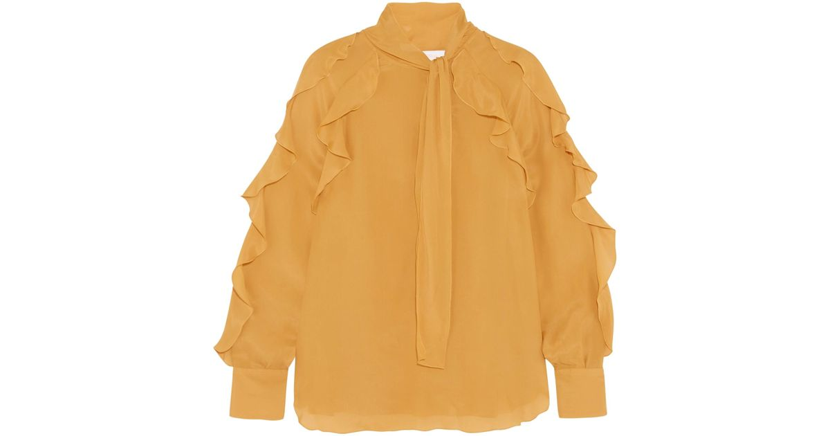 Ruffled Pussy-bow Chiffon Blouse - Marigold See By Chloé Cheap And Nice Lowest Price Cheap Online Online Cheap Outlet Fast Delivery Buy Cheap New Arrival SFZfPE