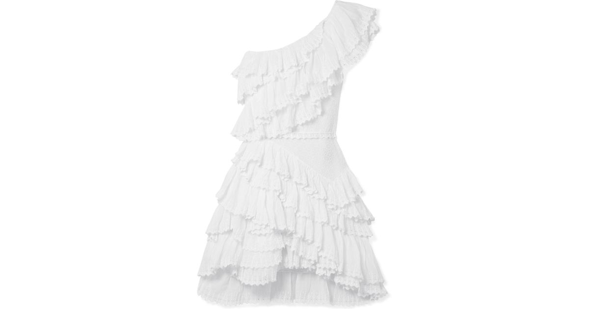 Authentic Sale Online Very Cheap Zeller One-shoulder Ruffled Broderie Anglaise Cotton Mini Dress - White Isabel Marant Enjoy Buy Cheap Inexpensive tz9XPyzS