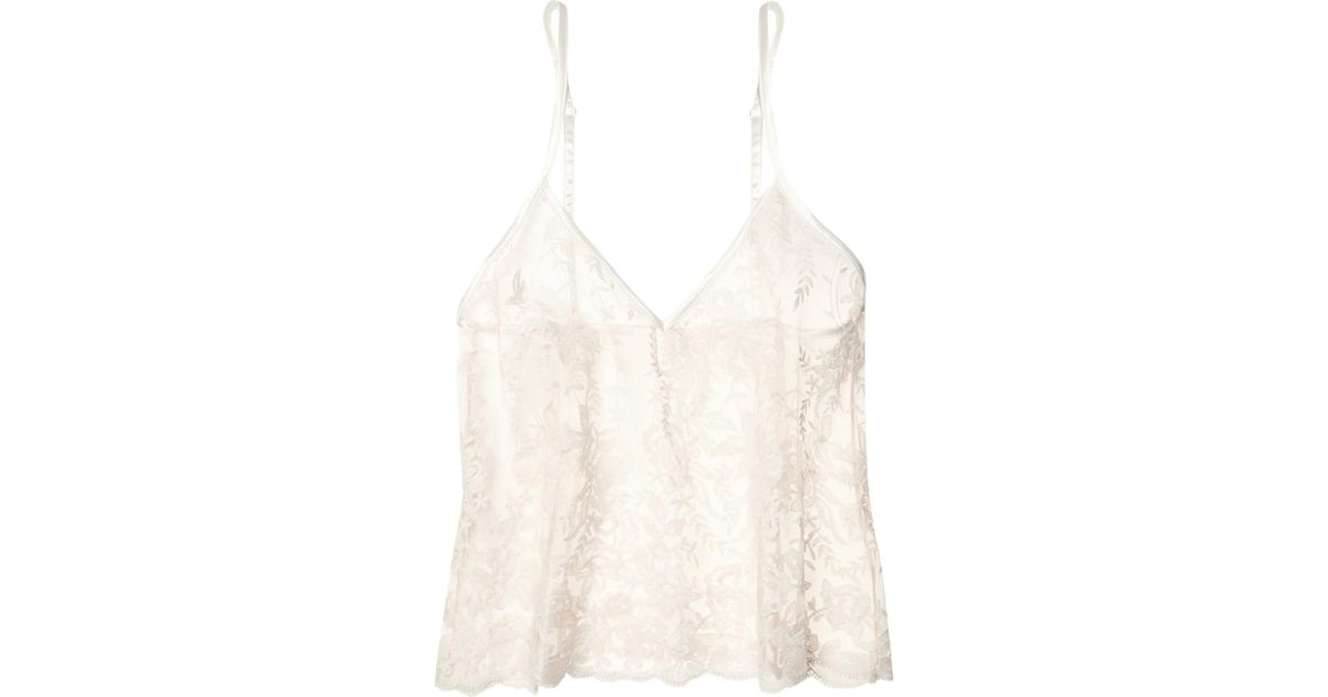 530736713fd Cosabella White Rosie Embroidered Cotton-blend Tulle Camisole