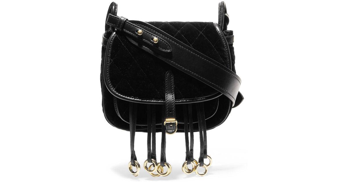 4609c55271c3 Lyst - Prada Messenger Leather-trimmed Quilted Velvet Shoulder Bag in Black