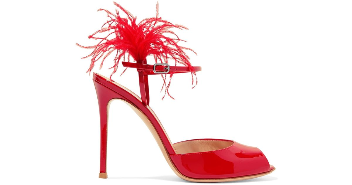 c4adba702d5 Lyst - Gianvito Rossi Feather-trimmed Patent-leather Sandals in Red