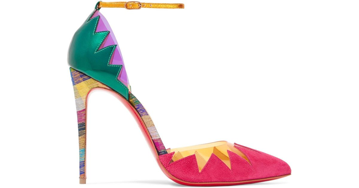 eb60738207b Christian Louboutin Chapito Ho 100 Pvc-trimmed Suede And Leather Pumps -  Lyst