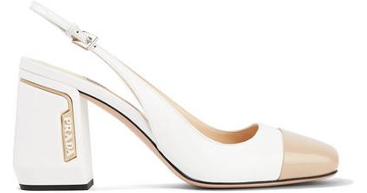 e3bf7f23d Prada 85 Two-tone Smooth And Patent-leather Slingback Pumps in White - Save  40% - Lyst