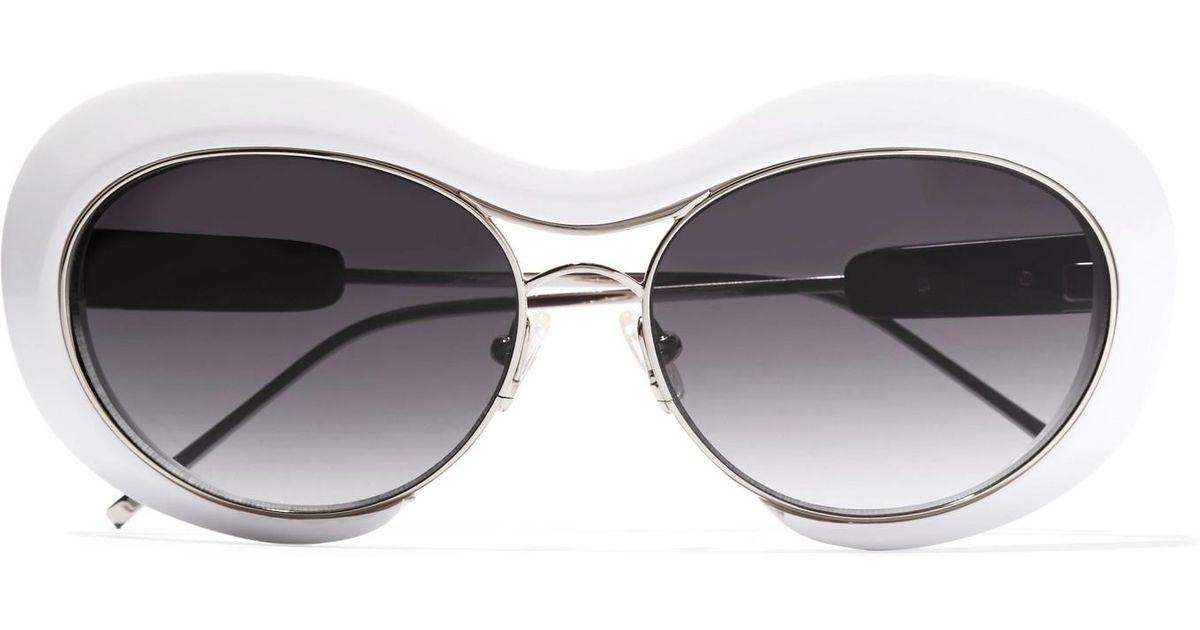 + Linda Farrow Round-frame Acetate And Silver-tone Sunglasses - White sacai