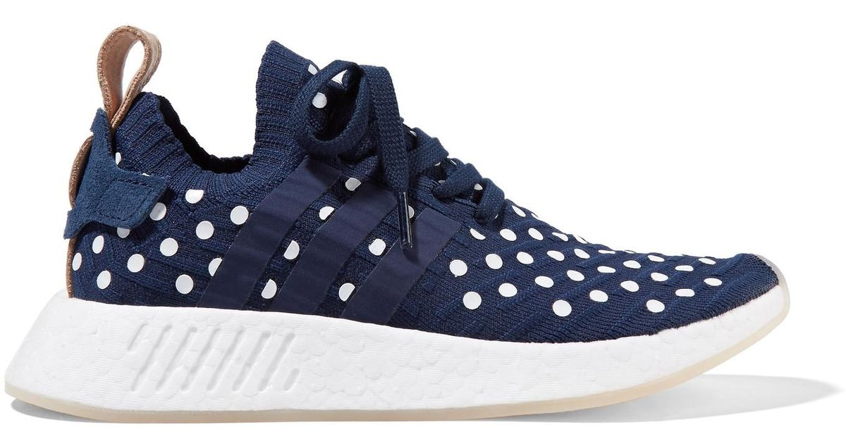 Lyst - Adidas Originals Nmd_r2 Leather-trimmed Polka-dot Primeknit Sneakers  in Blue