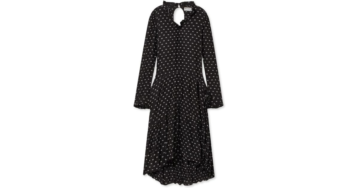 For Sale Top Quality Printed Crinkled-silk Midi Dress - Black Balenciaga Excellent Eastbay Sale Online Discount Pick A Best Amazing Price Cheap Price pPnL1e0