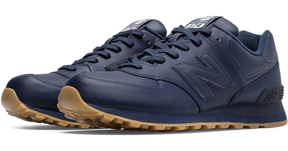 new balance 574 leather blu