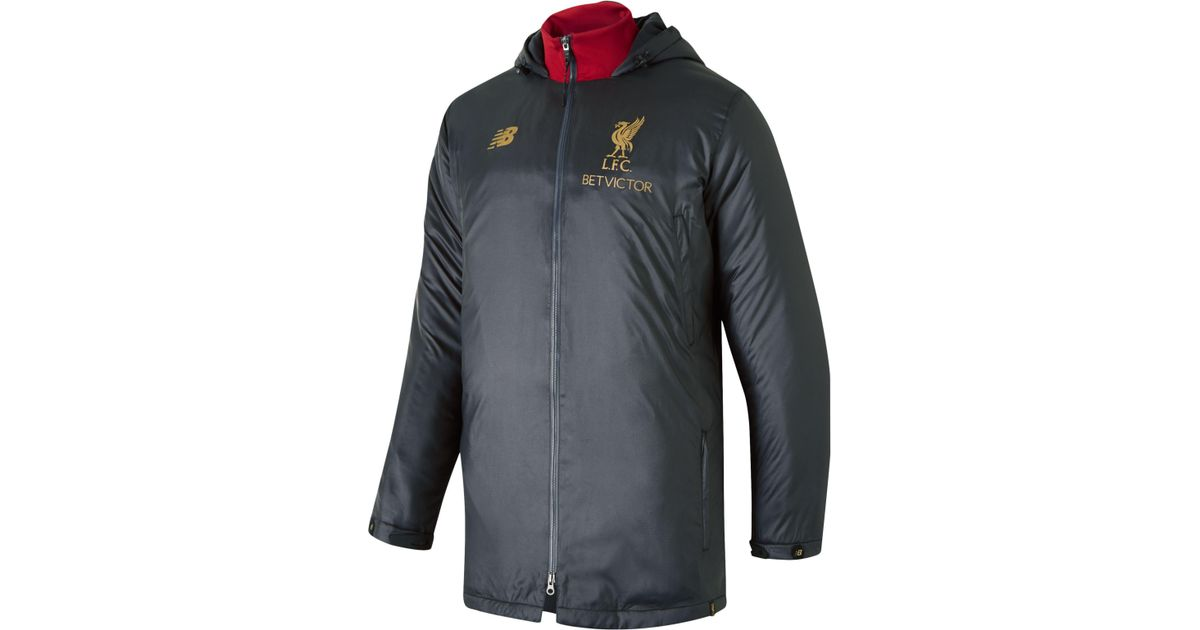 New Balance Synthetic Liverpool Fc Managers Jacket In Gray For Men Lyst