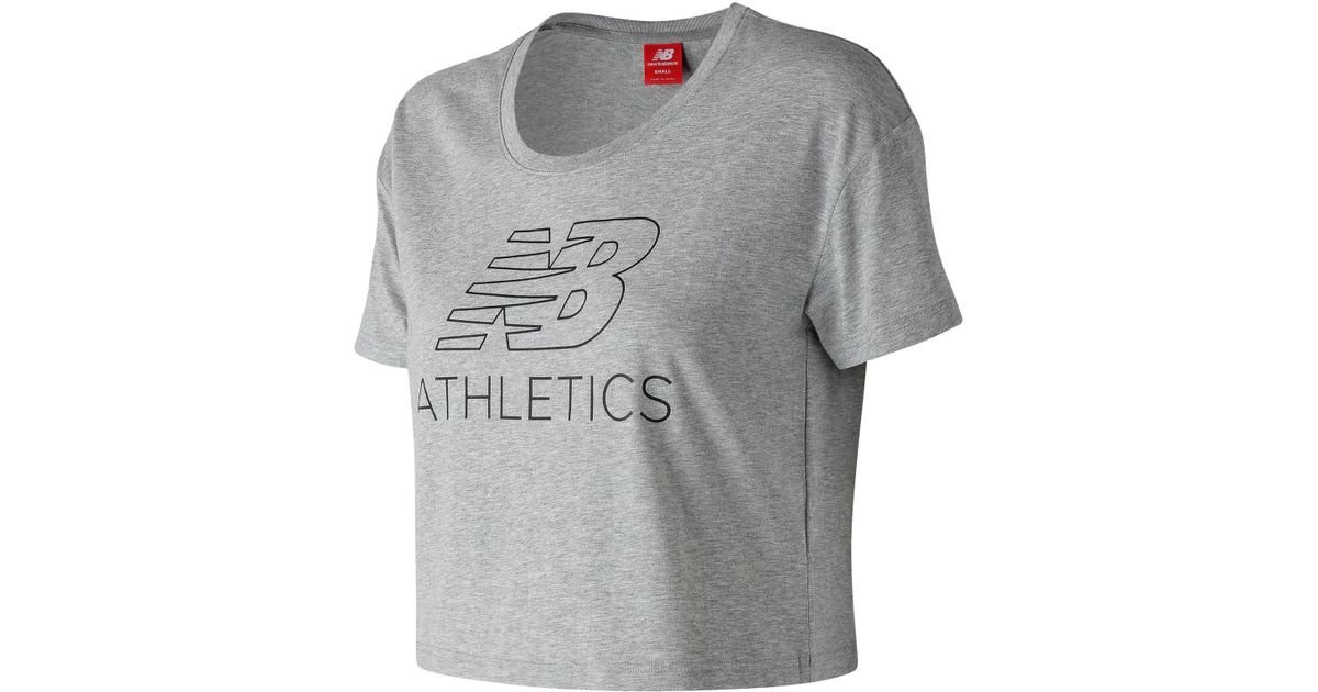 452b829bed653 New Balance Women's Nb Athletics Crop Tee in Gray - Lyst