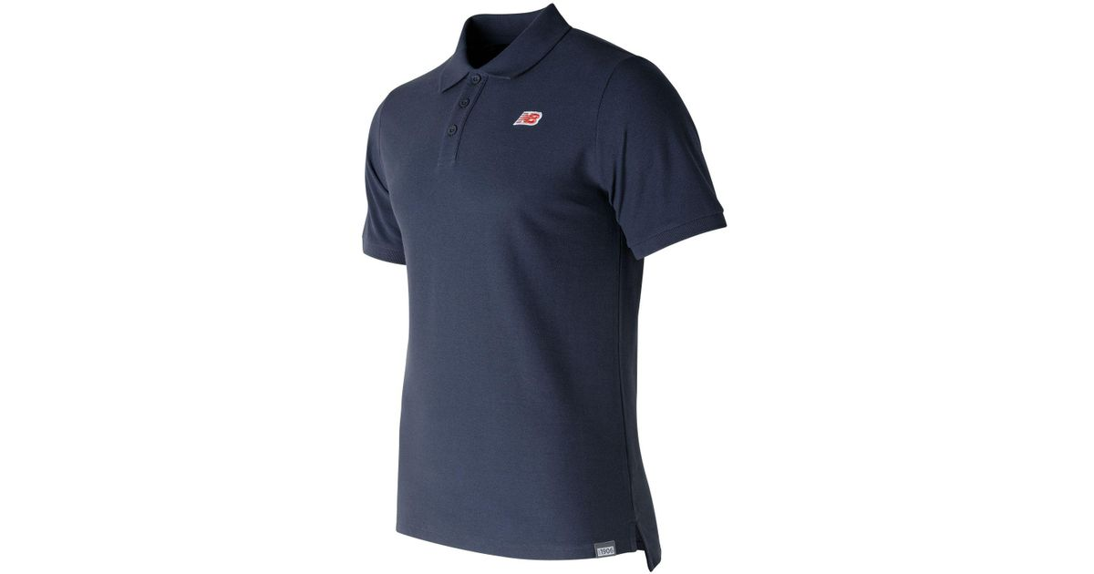 c15ad32564497 New Balance Cotton Pique Polo in Blue for Men - Lyst
