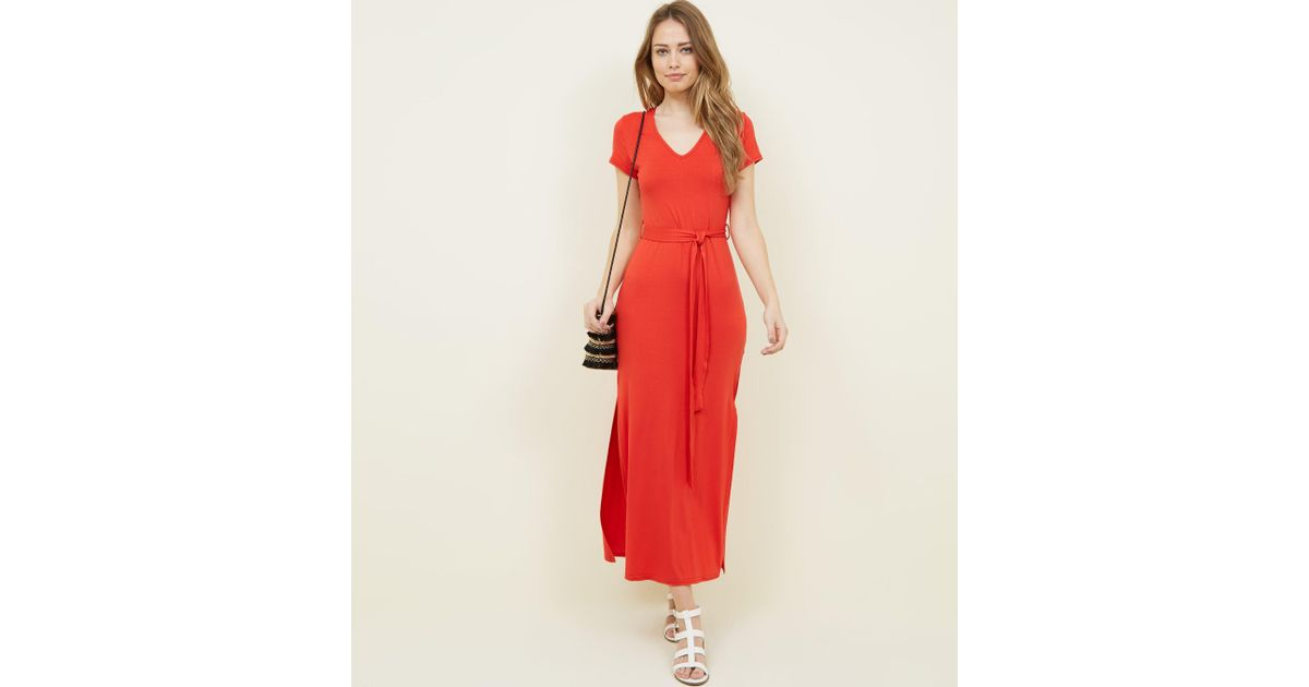 650c0f1aa071 New Look Red V-neck Jersey Maxi Dress in Red - Lyst