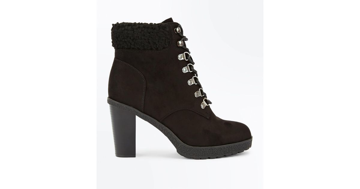 9635da17f36d New Look Wide Fit Black Suedette Borg Cuff Lace Up Boots in Black - Lyst