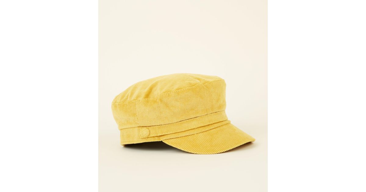 51f06a483a6 New Look Yellow Corduroy Military Baker Boy Cap in Yellow - Lyst