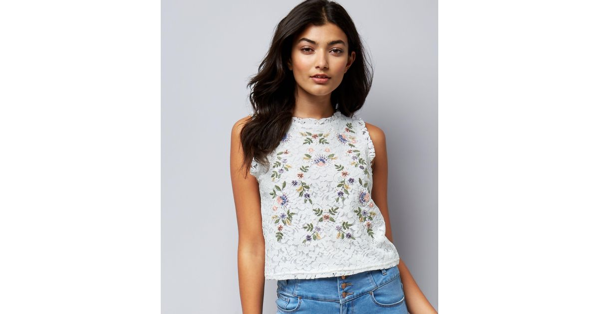 640d5928820833 New Look Petite White Floral Embroidered Lace Sleeveless Top in White - Lyst