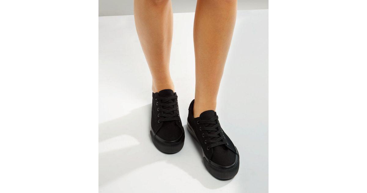 new look black platform trainers online